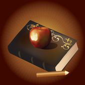 An old book, an apple and a pencil. — Stock Vector