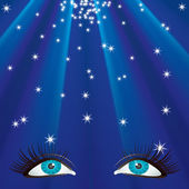 Eyes and the stars. — Stock Vector