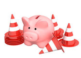Piggy bank and traffic cones — Stock Photo