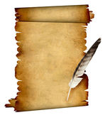 Scroll of parchment and feather — Stock Photo