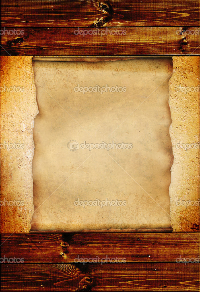 Grunge background with wooden boards and paper sheet — Stock Photo #2770302