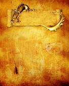 Grunge background with dragon and scroll — Stok fotoğraf