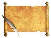 羊皮纸和羽毛的卷轴 — 图库照片