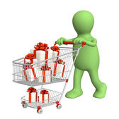 Consumer with shopping cart and gifts — Стоковое фото