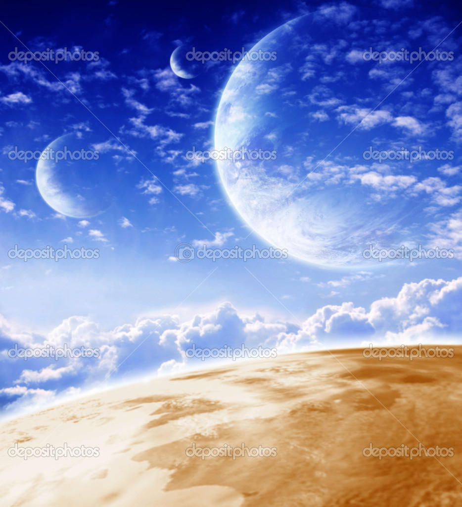 Sky in alien planet. Fantasy landscape — Stock Photo #3044499