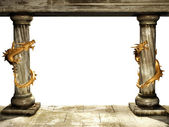 Columns and dragons — Stock Photo
