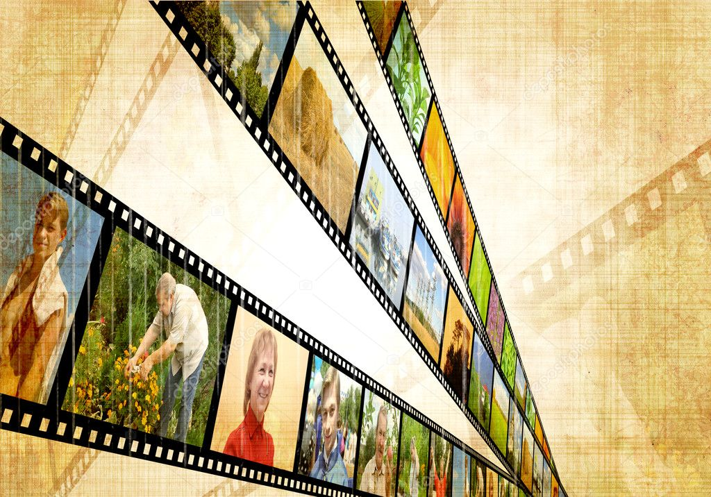 Grunge background with image of a filmstrip  Stock Photo #3382742