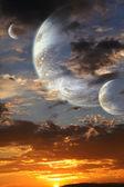 在外星球上的日落 — 图库照片