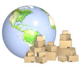 Cardboard boxes and Earth — Stock Photo