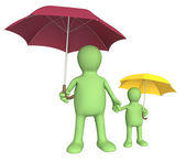 Adult and child with umbrellas — Stockfoto