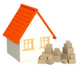 House and boxes — Stock Photo