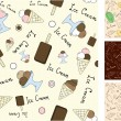 Vector seamless background with ice cream — Imagen vectorial
