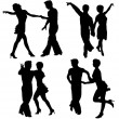 Stock Vector: Vector silhouettes dancing man and woman