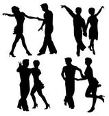 Vector silhouettes dancing man and woman — Stok Vektör