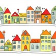 Seamless vector background with houses — Stock Vector