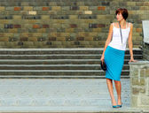 Girl at steps — Stock Photo