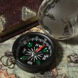 Compass on the old map — Stock Photo