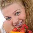 Beautiful girl with strawberry — Stock Photo
