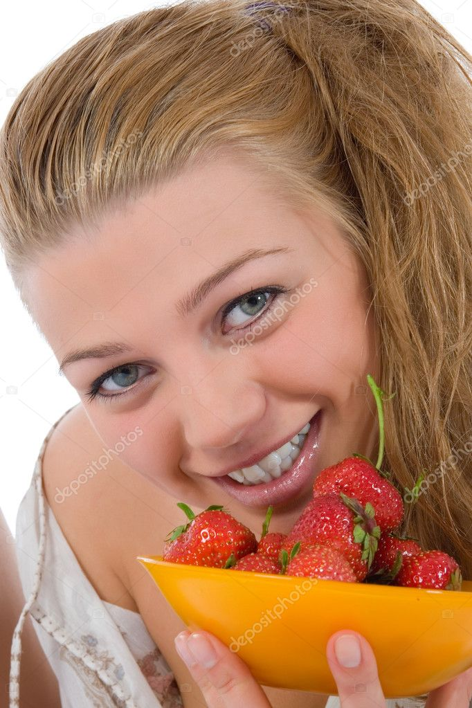 Beautiful girl with strawberry over white — Stock Photo #3371036
