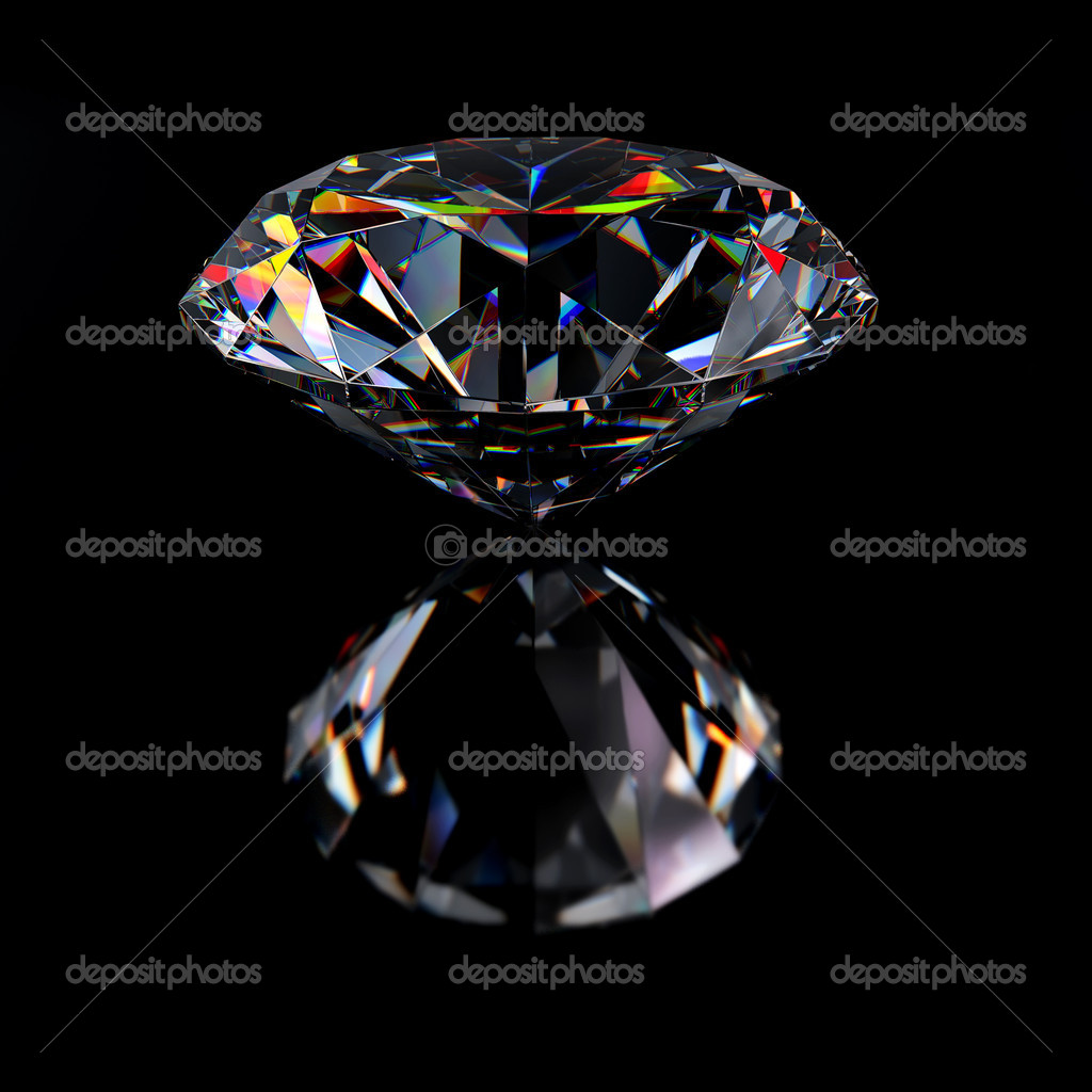Diamond jewel with reflections on black background — Stock Photo #2917569