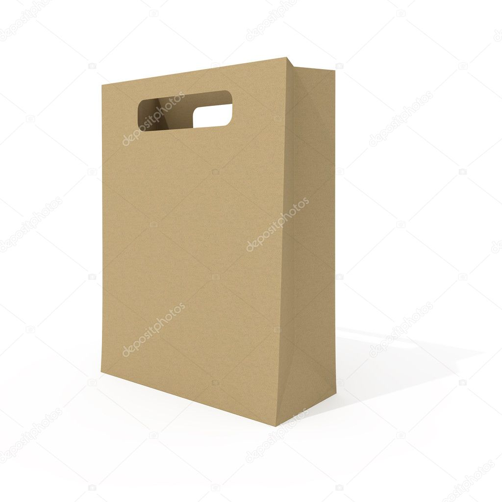 Blank shopping bag isolated on white background  Stock Photo #3483978