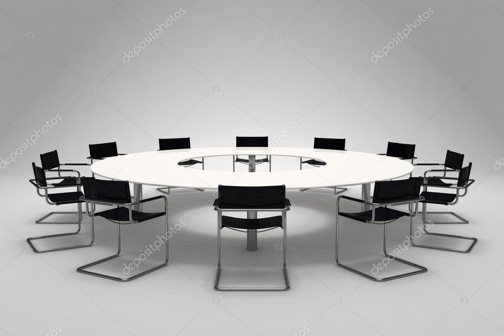 Conference table and chairs on gray background — Stock Photo #3900471