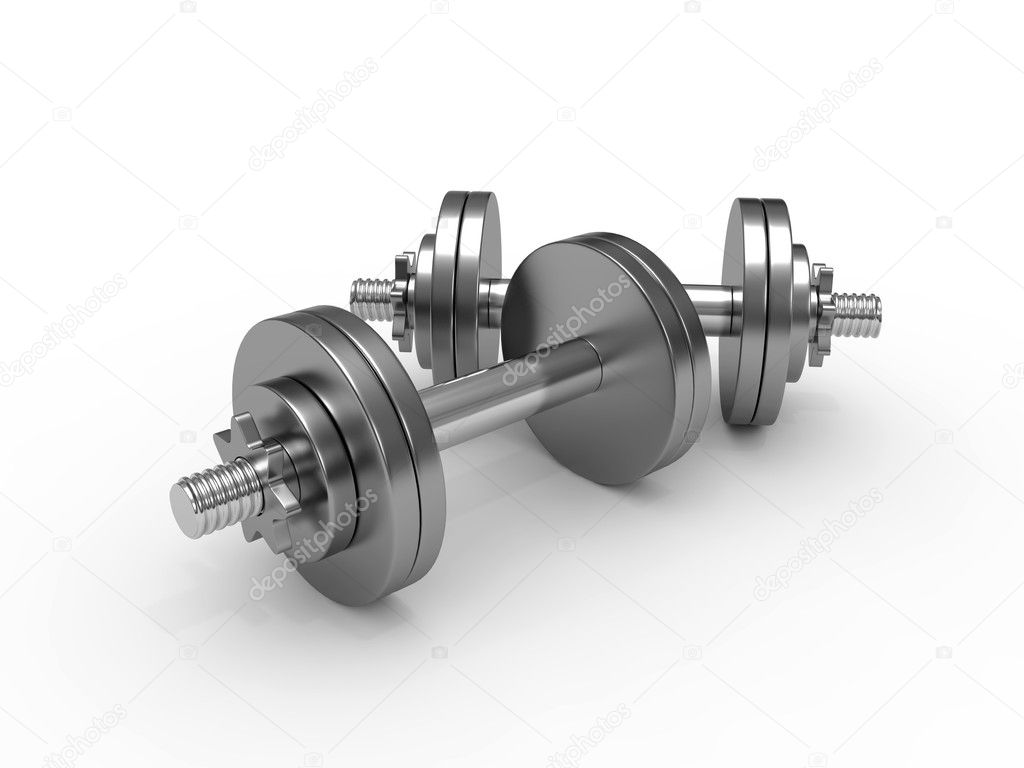Dumbbell weights isolated on white background — Stock Photo #3900485