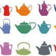 Stock Vector: Set of fifteen colorful vector teapots