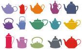Set of fifteen colorful vector teapots — Stock Vector