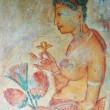 Wall painting at Sigiriya rock monastery, Sri Lanka — Stock Photo