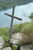 Old wooden moldavian orthodox cross ,Moldova — Stock Photo