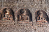 Buddha statues at Ajanta, famous cave temple complex,India — Stock Photo
