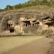 Ellora - big religious complex with buddhist,hindu caves - Stok fotoraf