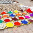 Colourful indian natural plant paints on the market - Stock Photo