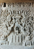 Carvings at Ajanta cave temple complex ,India — Stock Photo
