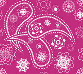 Retro seamless indian pink paisley vector pattern — Stock Vector