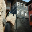 Medieval houses of old center in Plovdiv,Bulgaria - Stock Photo