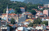 Old Plovdiv cityscape with timber roofs,Bulgaria — Stock Photo