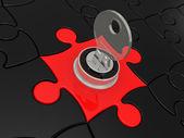 Puzzels met de vergrendeling — Stockfoto