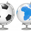 Royalty-Free Stock Photo: 3d the Globe with 3D soccer balls