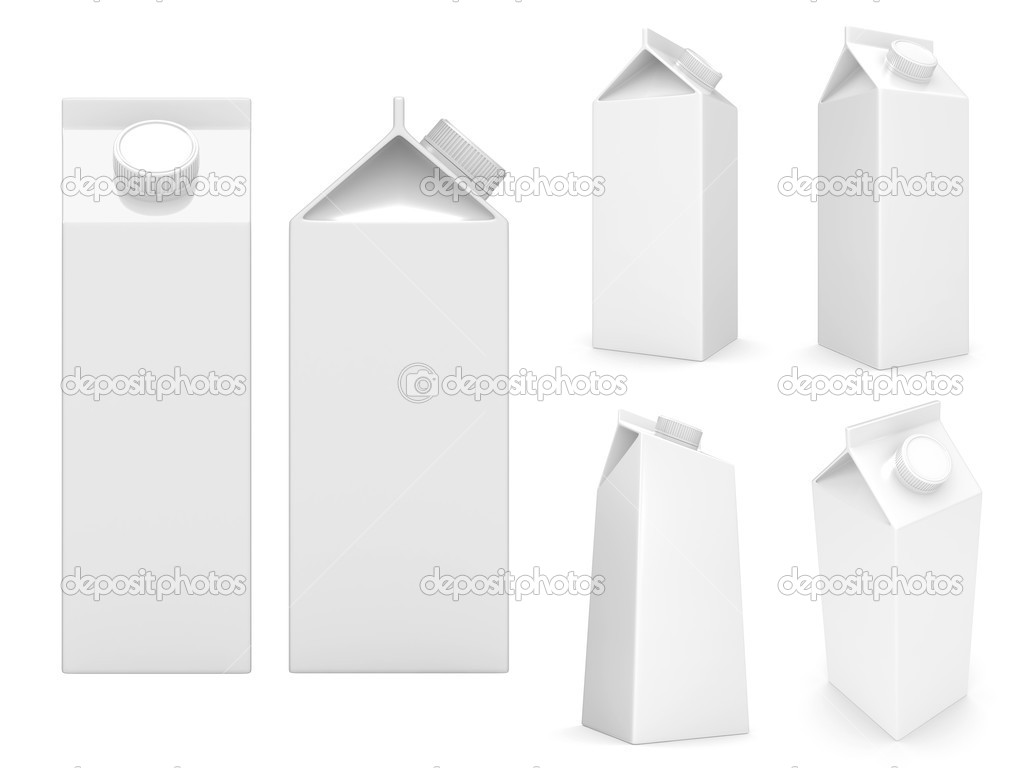 Milk boxes isolated over a white background — Zdjęcie stockowe #2878839