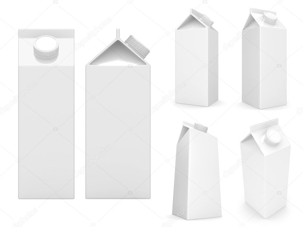 Milk boxes isolated over a white background  Stok fotoraf #2878839