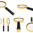 Golden magnifying glass — ストック写真