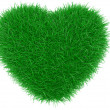Green grass heart shape. — Stock Photo