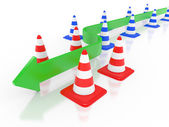 Road cone and arrow — Stock Photo