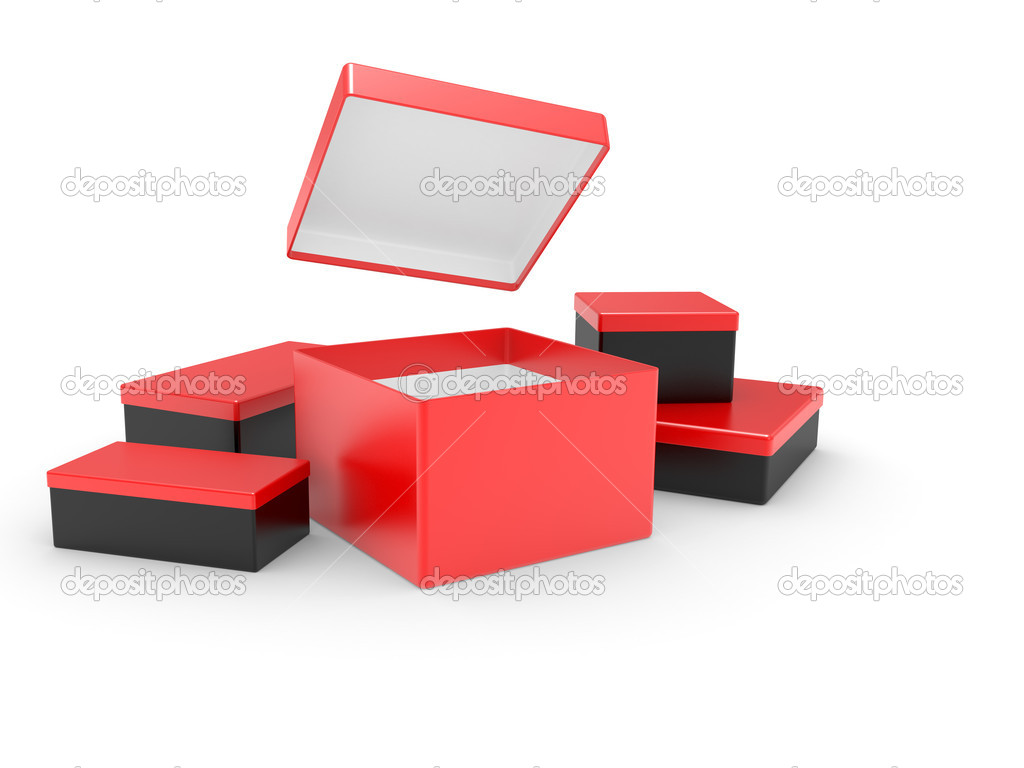 Black opened cardboard box 3D illustration isolated on white background — ストック写真 #3623591