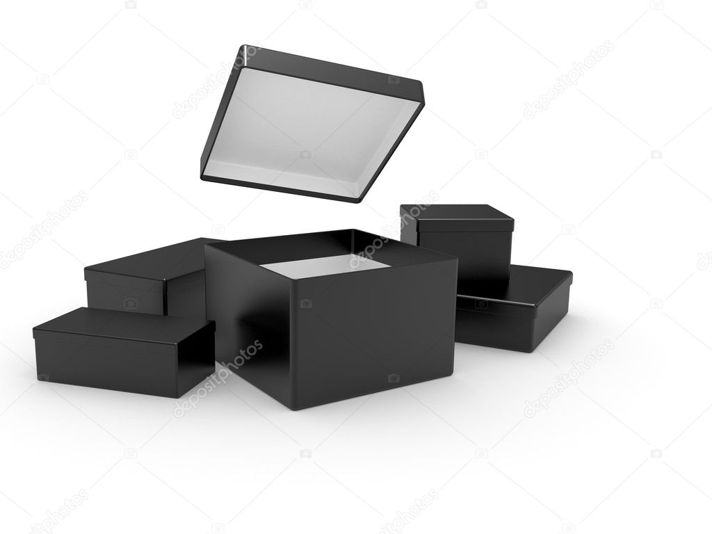 Black opened cardboard box 3D illustration isolated on white background — Lizenzfreies Foto #3645223