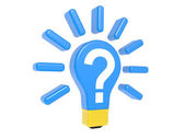 Light bulb with question — Stock Photo