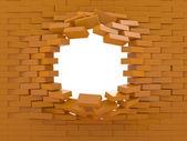 Bir tuğla duvar imha — Stok fotoğraf