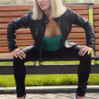 Stockfoto: Blonde girl in black jacket